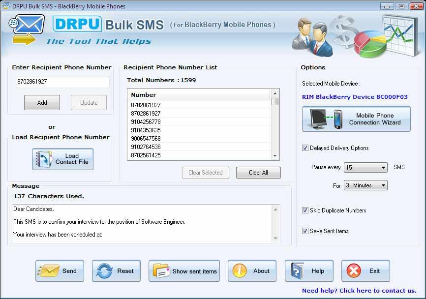 Screenshot of BlackBerry App for SMS