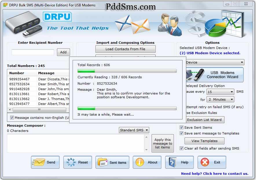 Screenshot of GSM SMS Modem